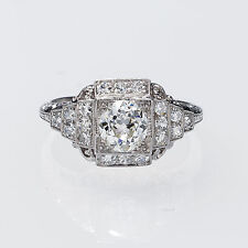 Really Pretty Fine Platinum Vintage Art Deco Diamond Engagement Ring .83 Carats
