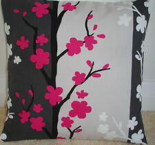 "NEW 18"" Cushion Cover Charcoal Grey Black White Fuschia Pink Cream Flowers Trees"