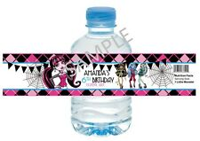 Monster High Water Bottle Labels - Birthday Party Favors - Set of 12