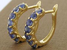E083 Genuine 9K Solid Gold NATURAL Sapphire Huggie Earrings September birthstone