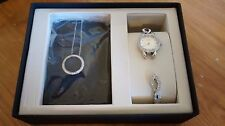 Bulova 96X134 Stainless Steel Crystal Watch and Necklace Set - NEEDS REPAIR