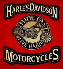Harley Davidson Embroidered 11.5''x3'' rockers, W/''Ride Fast Live Hard'' Patch