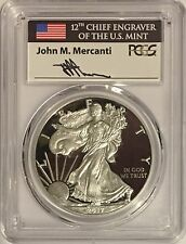 2017 S PROOF SILVER EAGLE PCGS PR70 DCAM FIRST DAY OF ISSUE MERCANTI 1 OF 1000