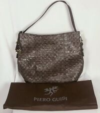 PIERO GUIDI INTRECCIO ART HOBO SHOPPER HANDBAG DARK BROWN ZIP TOP NEW!!
