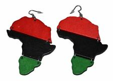 "Red Black and Green Pan-african Flag Dangling Hoop Wooden Earrings 4"" Long"