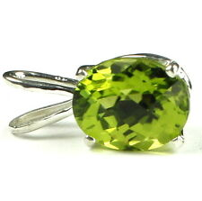 SP002, 10x8mm Peridot, 925 Sterling Silver Pendant-Handmade