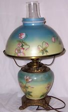 "Vintage 18"" Electric Blue Hurricane Lamp Pink Flowers Key Switch Mini Claw Feet"