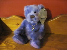 "NWT HTF 8"" Applause BEARS of FAITH February GERALD Plush Bear CROSS NECKLACE"