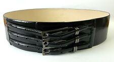 CUE [ Size L ] Black Patent Leather Wide Waist Belt