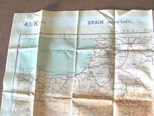 WW II US AIR FORCE BOMBER CO PILOT ESCAPE CLOTH MAP 43 K FRANCE SPAIN PORTUGAL