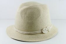 LADIES STRAW SUMMER INSPIRED PLAIN ROPE DESIGN FEDORA HAT(HT21)