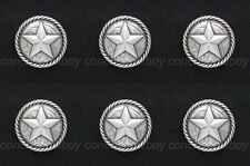 "Set of 6 ANTIQUE SILVER ROUND ROPE EDGE STAR SADDLE CONCHOS 1-1/4"" screw back"