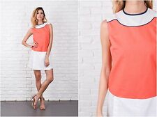 Vintage 60s Orange + White Mod Mini Dress Color Block drop waist Small S