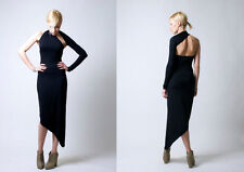 NEW w/Tags Marcellamoda One Shoulder Asymmetrical Midi Dress Black, Size Small