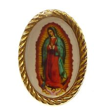 Catholic brooch Mary Our lady of Guadalupe pin badge gold colour metal