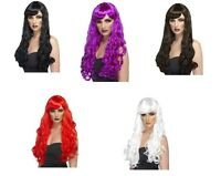 Witch Wigs Red, Black, Green, etc Long Curly Wig Ladies Halloween Fancy Dress
