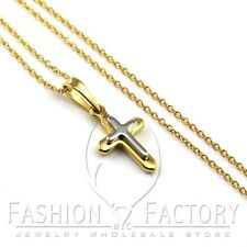HOT Girl's Stainless Steel Mini Small Simple Gold Tone Cross Pendant Necklace Q3