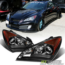 For 2010 2011 2012 Genesis Coupe Black LED Halo Projector Headlights Lamps 10-12