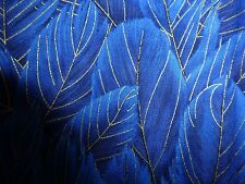 FEATHERS Fabric Fat Quarter Cotton Craft Quilting Blue Gold Timeless Treasures