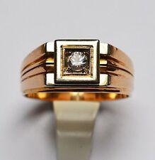 Herrenring Herren Ring 18 Karat 750 Gold 9,4 g Rotgold Weißgold Zirkon Gr. 60