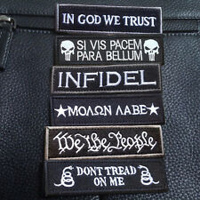 6PCS IN GOD WE TRUST & INFIDEL & We The People & MOLON LABE 3D HOOK PATCH