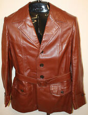 Mens Vintage Higbee Co. Brown Leather Belted Jacket Coat Size 40