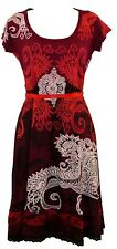 Beautiful Desigual Liz REP Short Sleeved Scoop Neck Dark RED Dress Size L