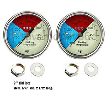 """BUY 2-2"""" 475 RWB BBQ CHARCOAL GRILL WOOD SMOKER OVEN PIT TEMP GAUGE THERMOMETER"""