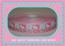 7/8 INCH BABY HELLO KITTY WITH BABY BOTTLES ON PINK GROSGRAIN RIBBON-1  YD