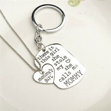 "Mommy""s Girl She Stole My Heart Necklace & Keychain Jewelry Mom US SELLER"