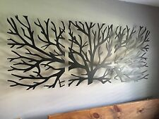 Metal Wall Art Decor 3D Sculpture 3 Piece Tree Brunch Modern Fireplace