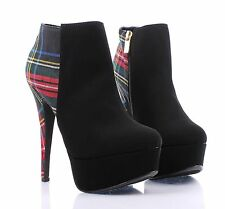 Black Multi Fashion Faux Leather Women High Heels Ankle Boots Shoes Size 10