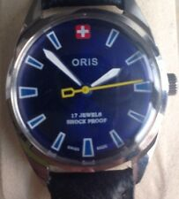 Rare Vintage Oris Watch Swiss Made Serviced Working New Strap Blue Dial
