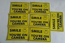 VIDEO SURVEILLANCE Security Decal  Warning Sticker (smile you're )set of 7 pcs