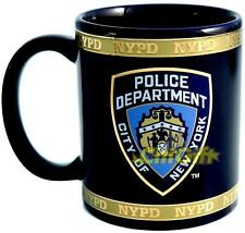 NEW YORK POLICE NYPD BLUE BADGE CERAMIC MUG W/GOLD CUP