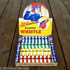 36 Vintage Old ALL AMERICAN PLASTIC WHISTLES Toy Counter Top Display 1950s NOS