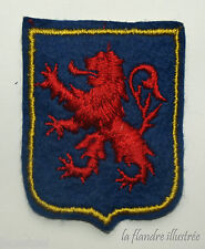 ancien écusson lion des flandres - rouge sur fond bleu - collection - carnaval