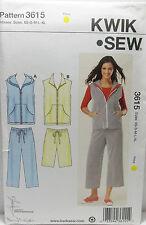 KwikSew Pattern #3615 Misses Pants Shorts Vest Size (XS-S-M-L-XL)