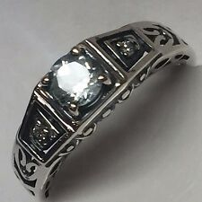 Natural 0.5ct Aquamarine 925 Solid Sterling Silver Art Deco Filigree Ring sz 7