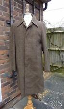 VINTAGE Irish Tweed Marrone Check Lana Cappotto Da Dunn & Co