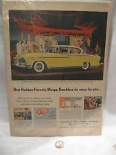 Hudson Hornet Car - Very Unique Vintage Illustrated Print Ad - WASPS - RAMBLERS
