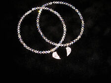 Swarovski Crystal & Sterling Silver BEST FRIENDS Bracelets Set!