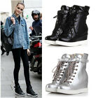 Womens High Top Lace Vecro Hidden Wedge Heel Plimsoll Casual Boots Sneaker Shoes