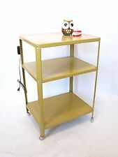Vintage Mid Century Mustard Yellow Rolling Metal Utility Cart w/Outlet 3 Shelves