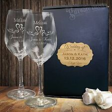 Engraved Wine Glass Set Gift Boxed Personalised Wedding Anniversary Birthday