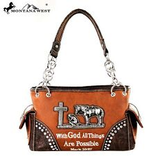 Montana West Handbag Purse With God all Things Are Possible Spiritual Brown