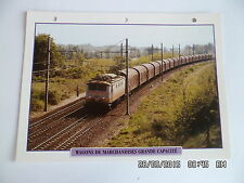 CARTE FICHE TRAIN WAGONS DE MARCHANDISES GRANDE CAPACITE