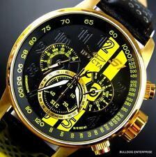 Invicta S1 Rally Racing Yellow Gold Plated Black Leather Chronograph Watch New