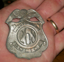 1915 TIN TOY JUVENILE CHILD POLICE BADGE SHIELD OLD 268 DETECTIVE G MAN NEW YORK