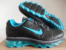 WMNS NIKE AIR MAX + 2011 LEA LEATHER BLACK-NEO TURQUOISE SZ 7 [456326-011]